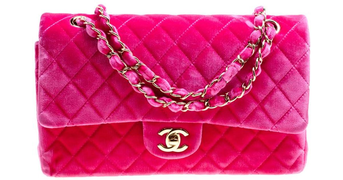 abe2cbb12959 Chanel Fuschia Quilted Velvet Medium Classic Double Flap Bag in Pink - Lyst