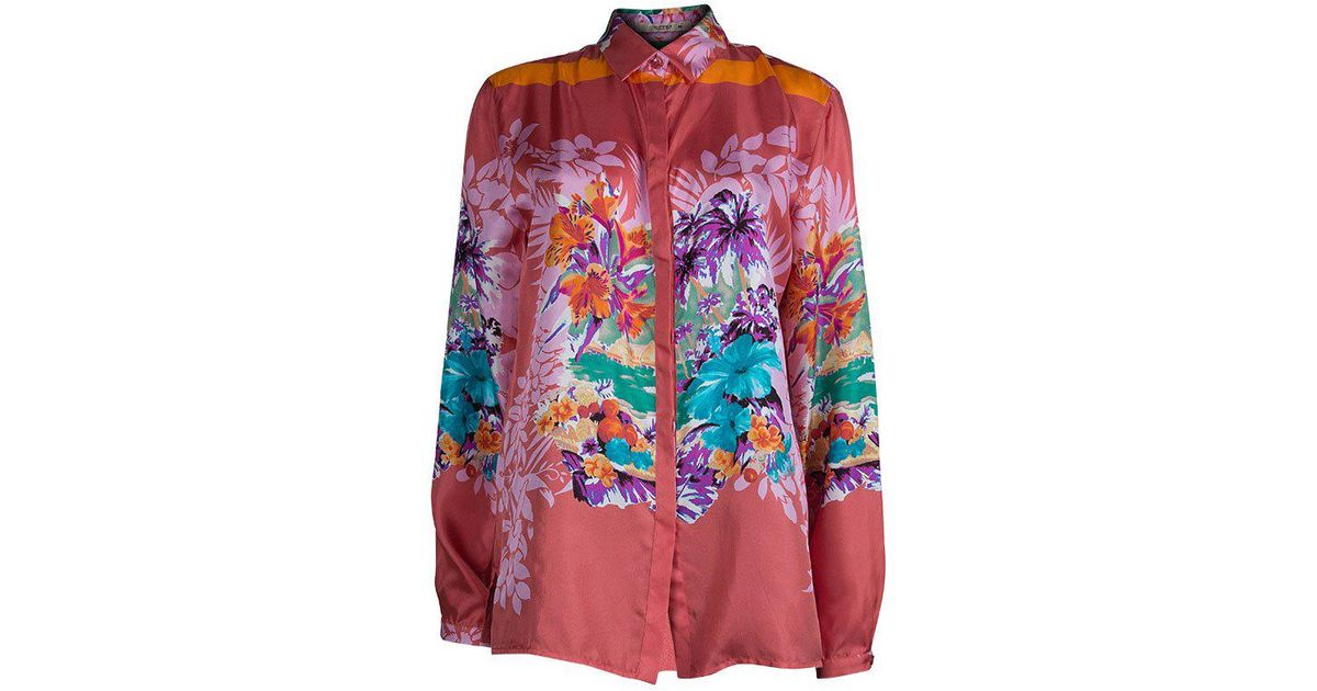f13b1d4ec027b Lyst - Etro Floral Printed Silk Long Sleeve Button Front Shirt L in Red