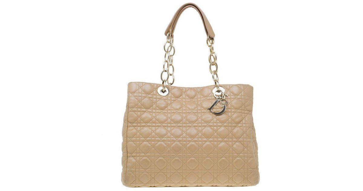 d00840d2febc Lyst - Dior Cannage Quilted Soft Leather Large Shopping Tote in Natural