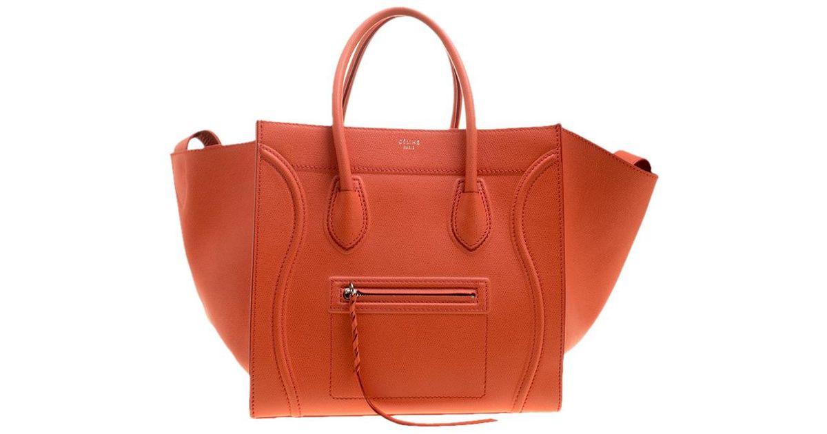 b978ab4fa1 Lyst - Céline Leather Medium Phantom Luggage Tote in Orange