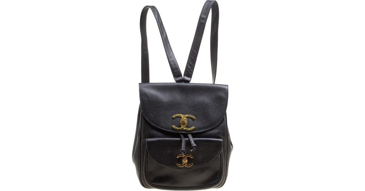 9e9063c88902 Chanel Caviar Leather Vintage Cc Drawstring Backpack in Black - Lyst