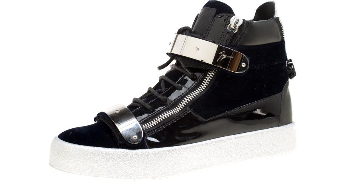 db8db0381fc11 Lyst - Giuseppe Zanotti Navy Blue Velvet And Black Leather Coby High Top  Sneakers Size 43 in Blue for Men