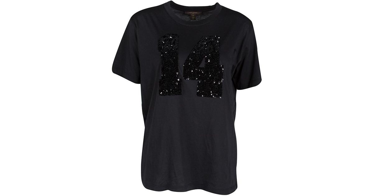 758fbd961836 Lyst - Louis Vuitton Sequin Embellished Short Sleeve T-shirt M in Black