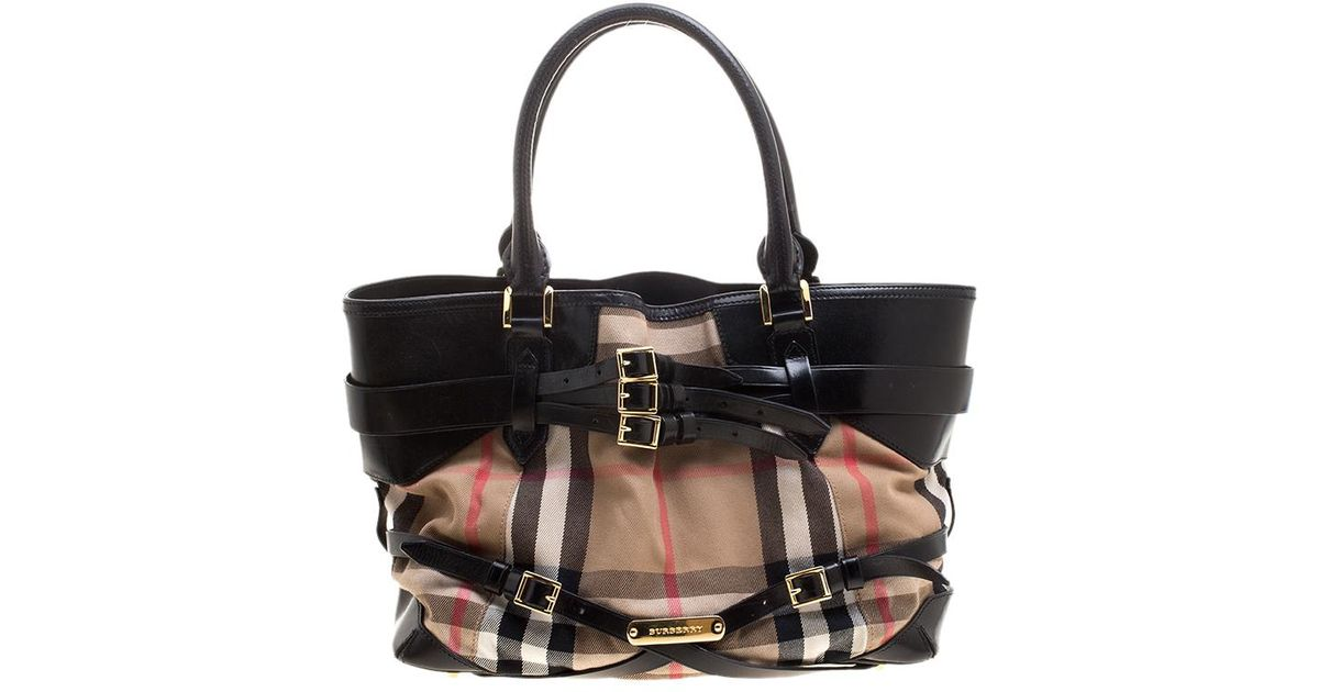 9e7f25d2621 Burberry House Check Fabric And Leather Small Gladstone Tote in Black - Lyst