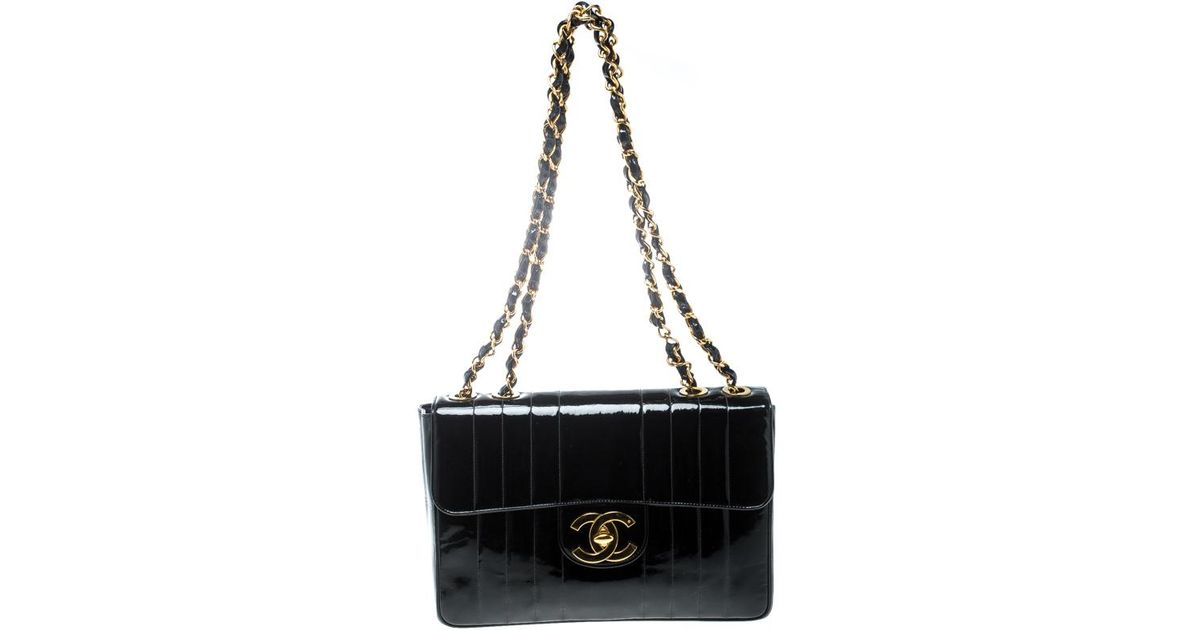 32ab32a3db39 Chanel Black Vertical Quilted Patent Leather Jumbo Vintage Classic Single Flap  Bag in Black - Lyst