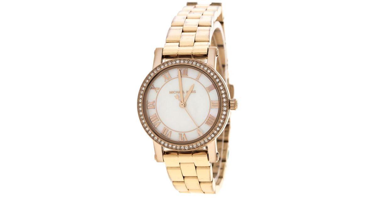 7ba342b9f761 Lyst - Michael Kors White Mother Of Pearl Rose Plated Steel Petite Norie  Mk3558 Women s Wristwatch 28 Mm in Metallic