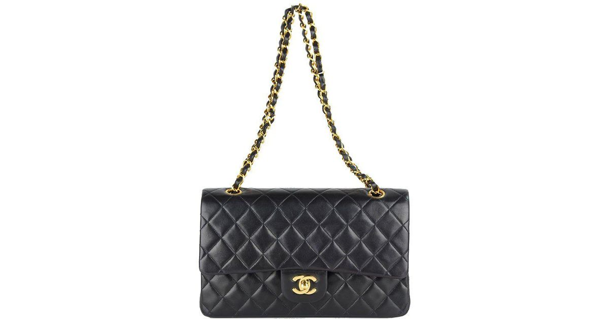 86d63ee27ae Chanel Quilted Lambskin Medium Vintage Classic Double Flap Bag in Black -  Lyst
