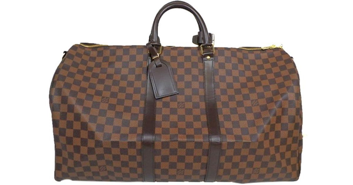 f160b07b9662 Lyst - Louis Vuitton Damier Ebene Canvas Keepall Bandouliere 55 Bag in Brown