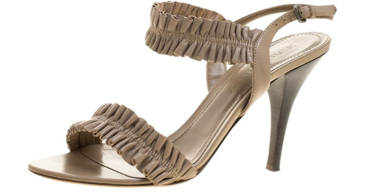 8f85fe995c3 Lyst - Burberry Taupe Leather Ruffle Slingback Sandals in Gray
