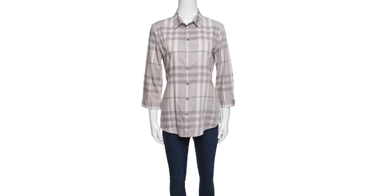 35ab54891f9 Burberry Brit Smoked Grey Checked Cotton Long Sleeve Button Front Shirt M  in Gray - Lyst