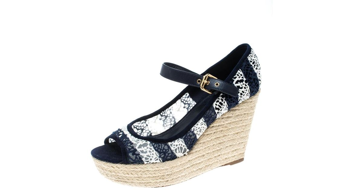 45da336c32 Louis Vuitton /white Fabric And Mesh Open Toe Wedge Espadrille Sandals in  Blue - Lyst
