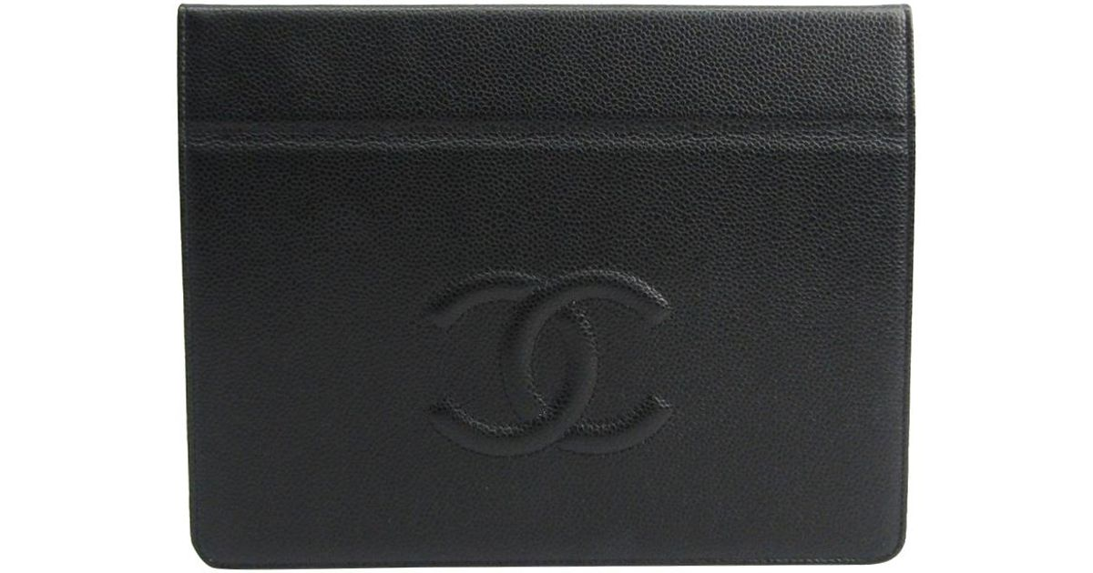 b3e2c55333ab31 Chanel Leather Ipad Case in Black - Lyst