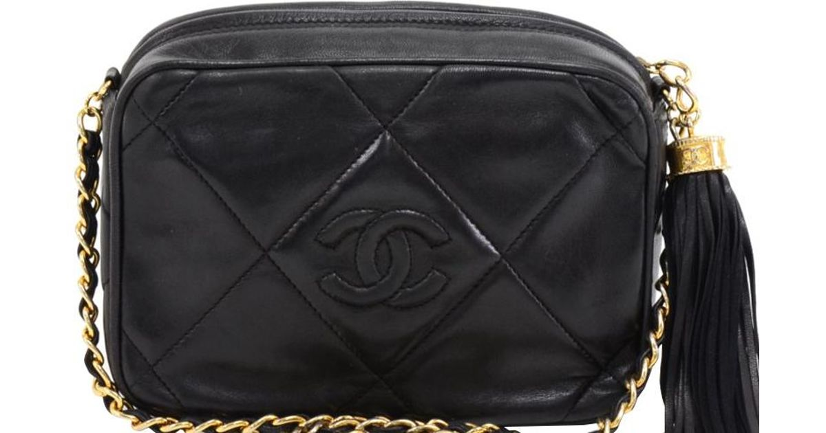 fdc3b40277f7 Chanel Black Quilted Leather Vintage Cc Tassel Crossbody Bag in Black - Lyst