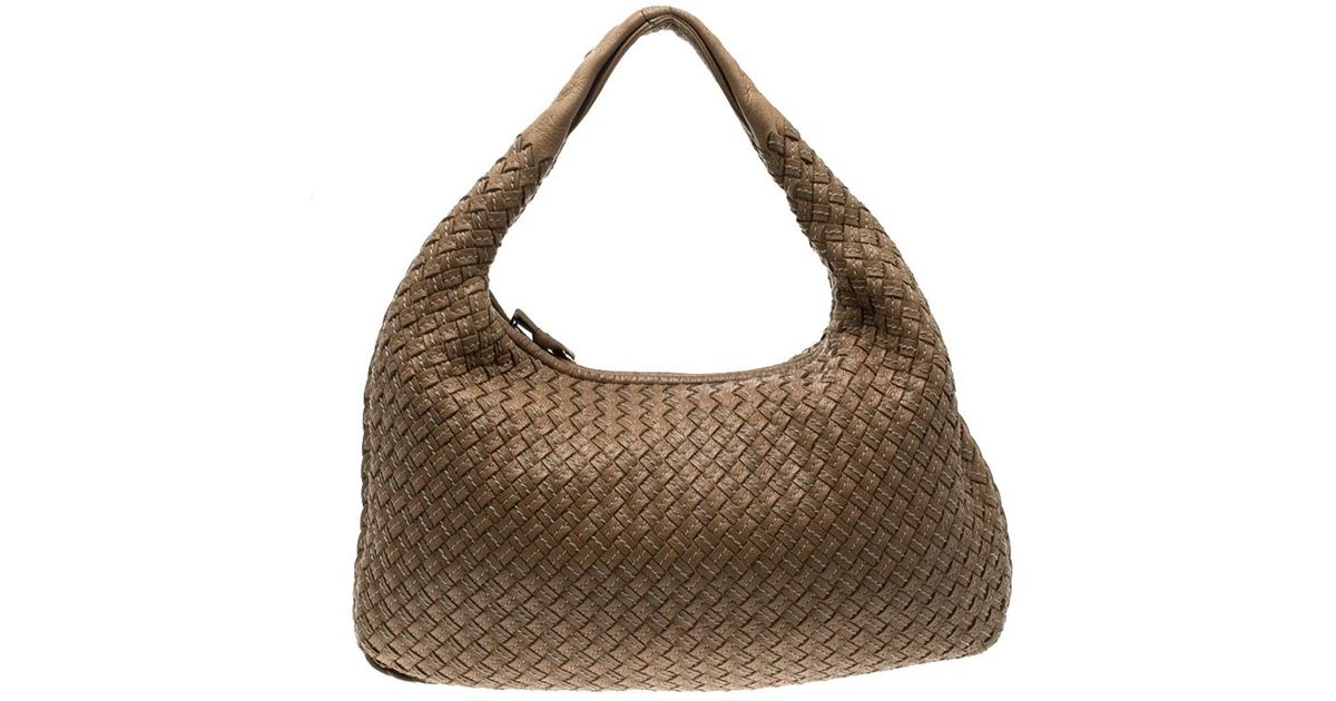 47112f05e380 Bottega Veneta Intrecciato Stitched Nappa Leather Medium Veneta Hobo in  Brown - Lyst