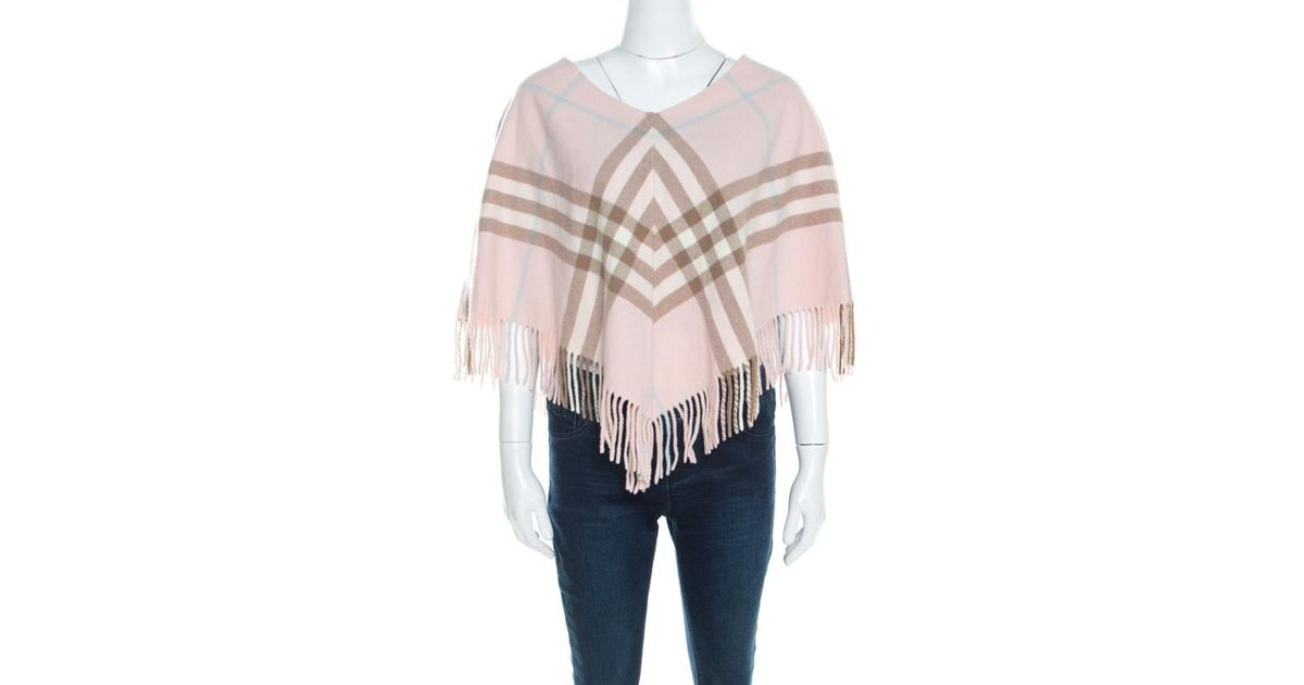 ed5e5bed861a3 Burberry Pale Pink Novacheck Cashmere Fringed Poncho ( One Size ) in Pink -  Lyst