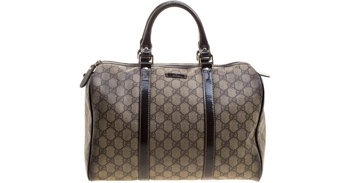 4a36cfbc9e8c Gucci /brown Gg Supreme Canvas And Leather Medium Joy Boston Bag in Natural  - Lyst