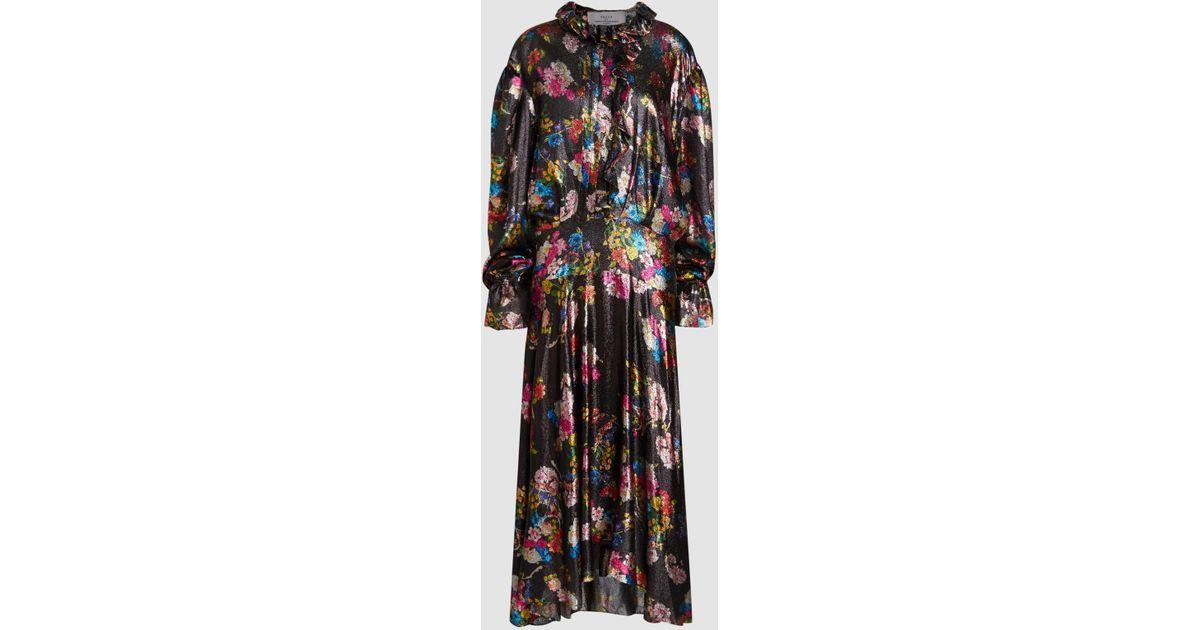 206771f259 Lyst - Preen By Thornton Bregazzi Iris Printed Silk-blend Lamé Maxi Dress in  Black