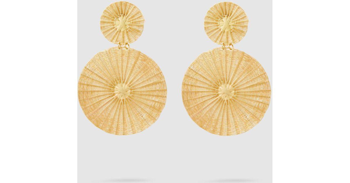 Mercedes Salazar Dos Soles Dorados Raffia Gold-Tone Earrings izQ5LvMJ
