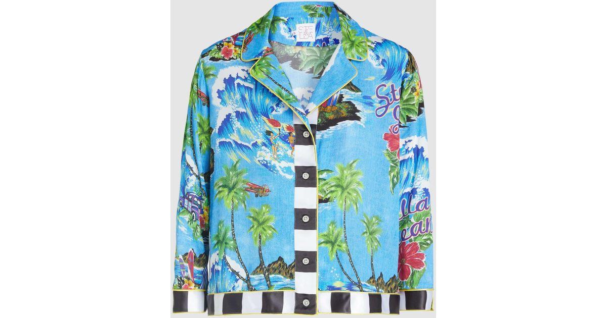 dea5756c Stella Jean Hawaiian Print Cropped Button-up Organic Cotton Bowling Shirt  in Blue - Lyst
