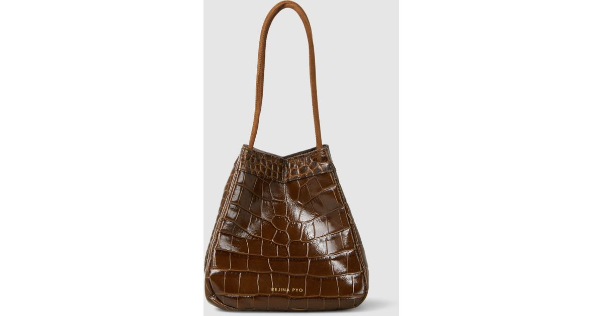 Rita Croc-effect Leather-trimmed Suede Bucket Bag - Black Rejina Pyo aH1AgJ6ufo