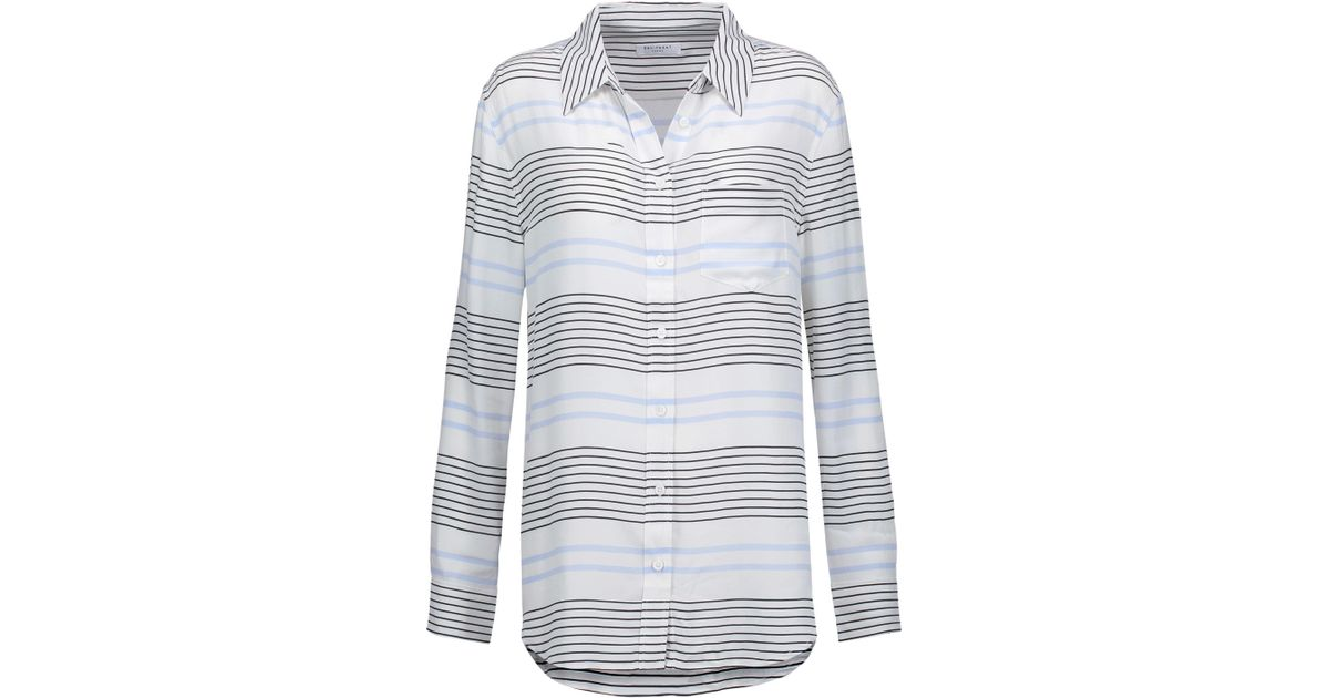 3ab4a2203b Lyst - Equipment Reese Striped Washed-silk Shirt in White