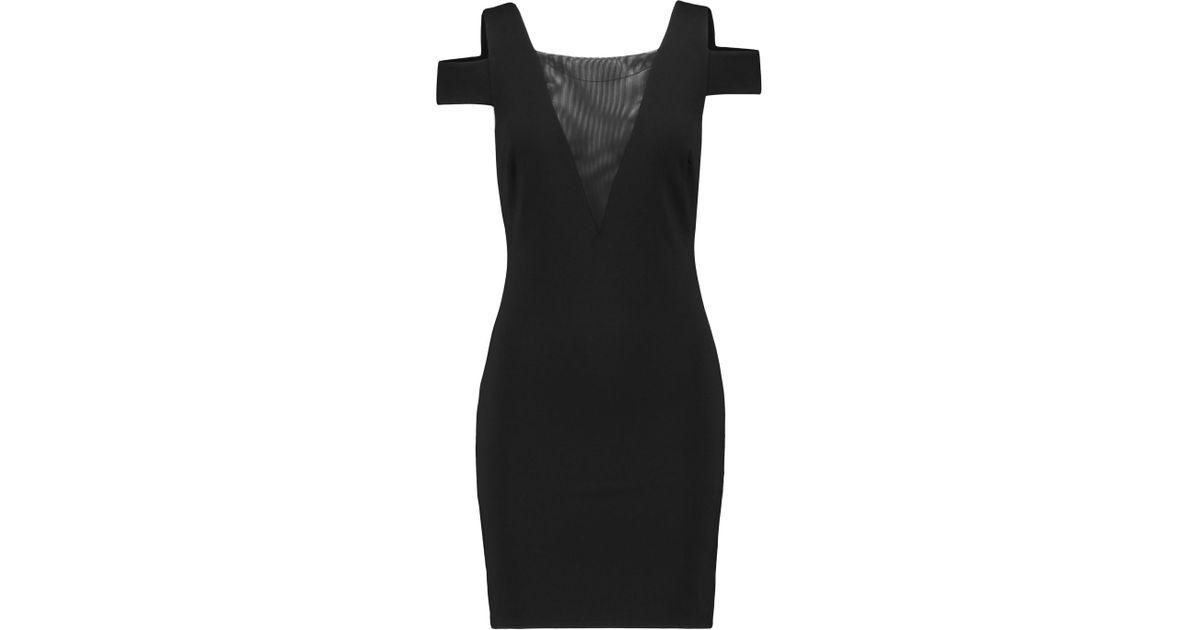 1b2116fa947f Lyst - Halston Mesh-paneled Stretch-ponte Mini Dress in Black