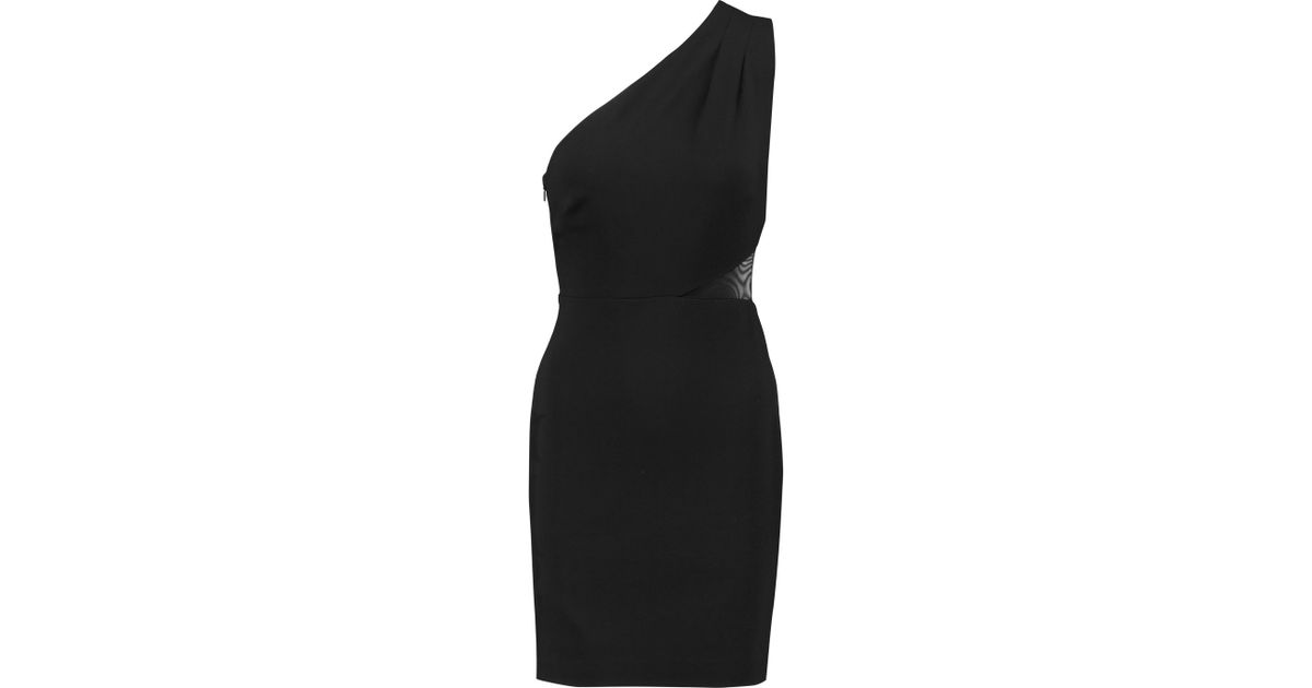 74217ec5e9b0 Lyst - Halston One-shoulder Paneled Ponte Mini Dress in Black