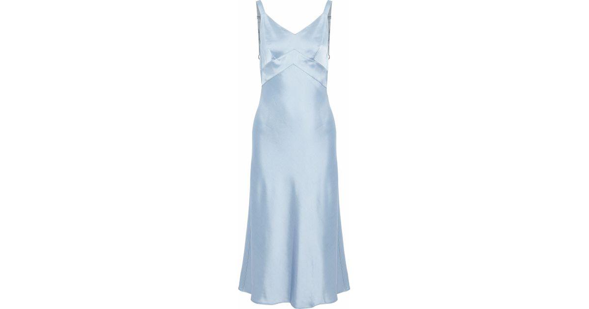 755f5f167878 Rag & Bone Draped Duchesse-satin Midi Slip Dress Light Blue in Blue - Lyst