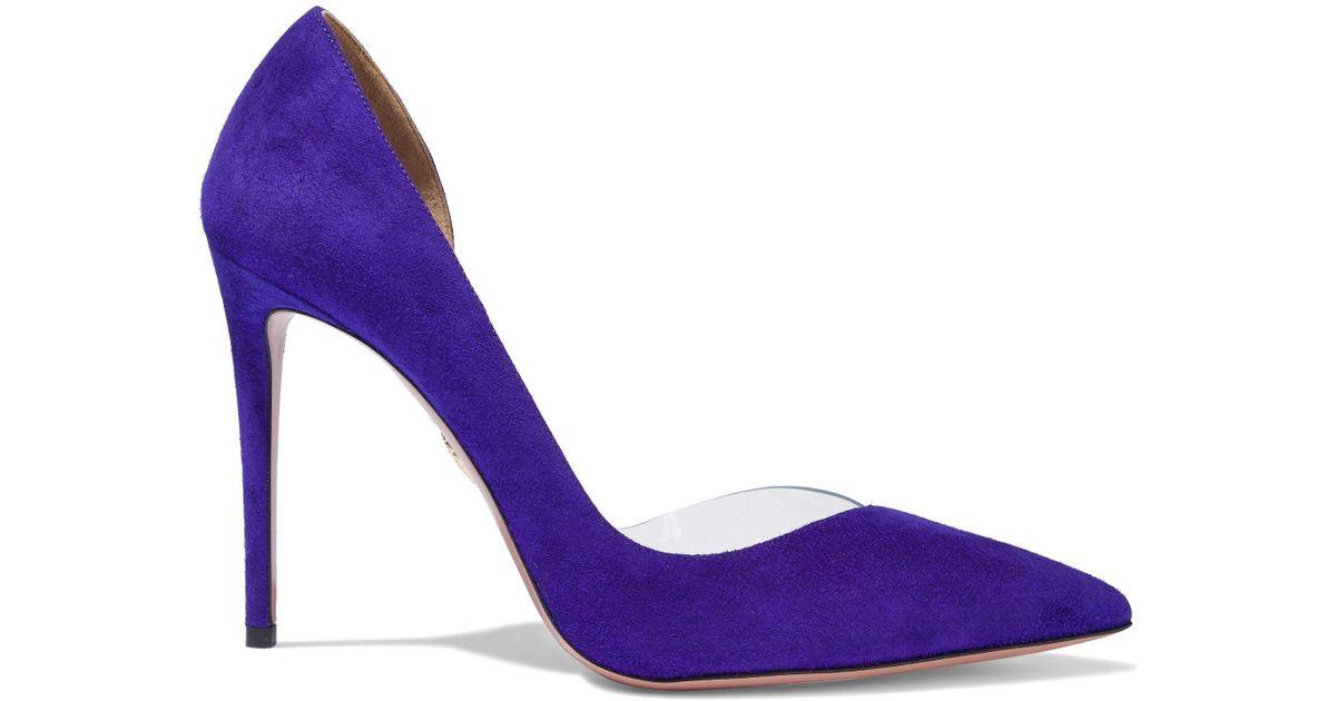 d5ab5413f8f Lyst - Aquazzura Woman Eclipse 105 Suede And Pvc Pumps Purple Size 39.5 in  Purple