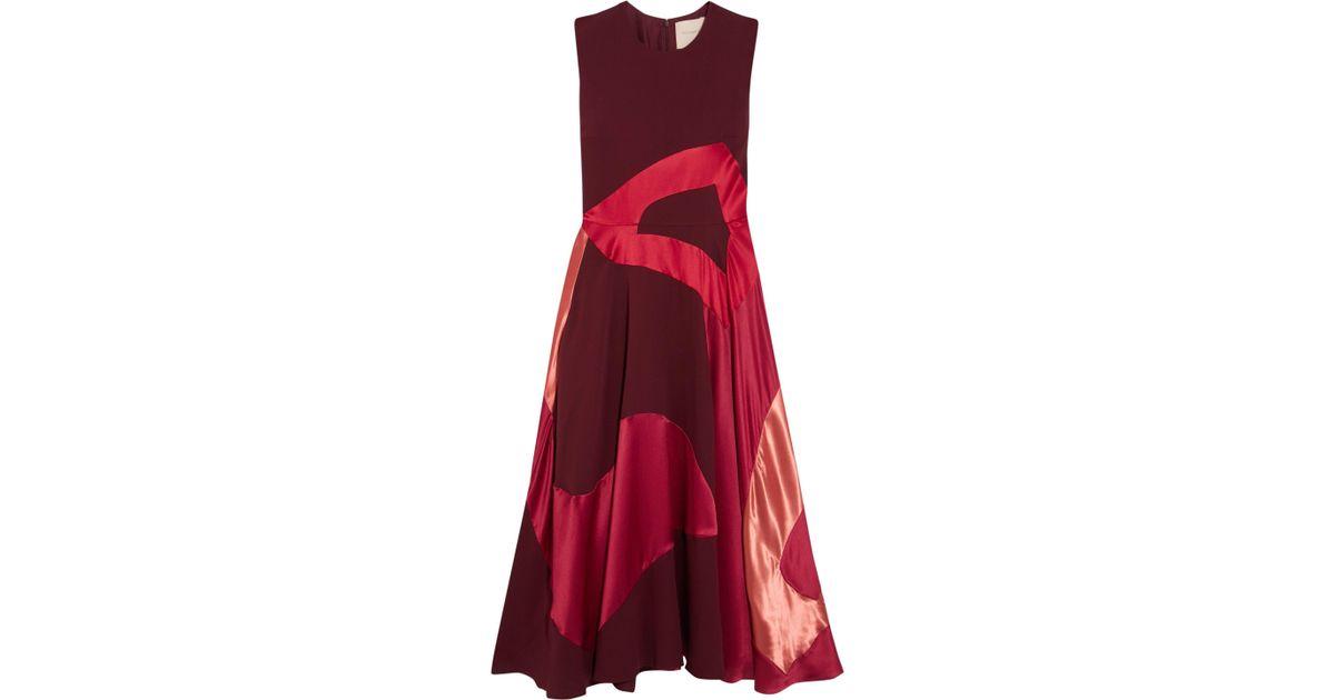 Keanu paneled silk-satin dress Roksanda Ilincic zIrIN