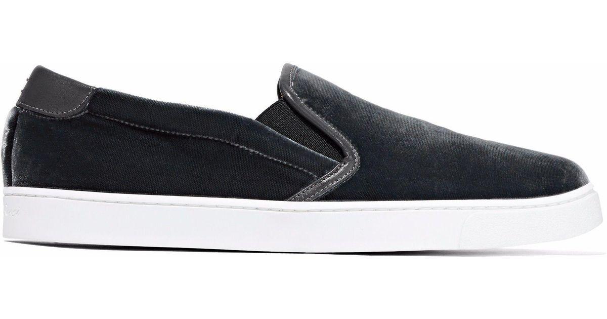 b34e22afd Gianvito Rossi Venice Leather-trimmed Velvet Slip-on Sneakers in Gray - Lyst