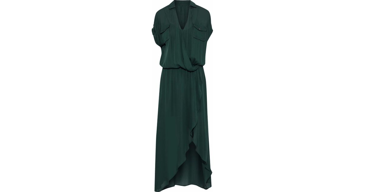 a7fa90f5eed8d0 Lyst - Haute Hippie Woman Wrap-effect Silk Crepe De Chine Maxi Dress Forest  Green in Green