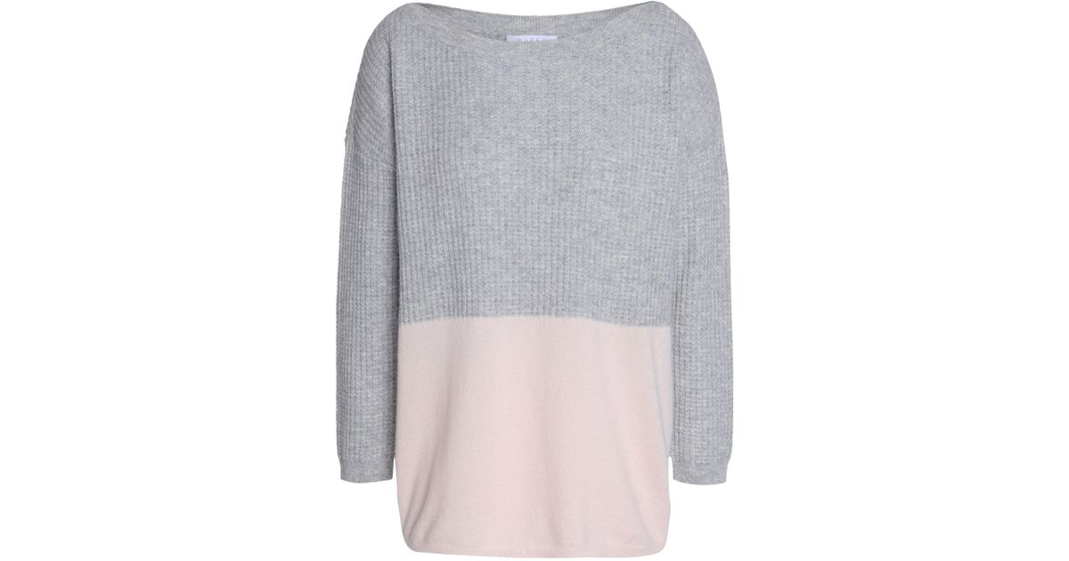 a6fd4589b78504 Duffy Woman Waffle Knit-paneled Two-tone Cashmere Sweater Gray in Gray -  Lyst