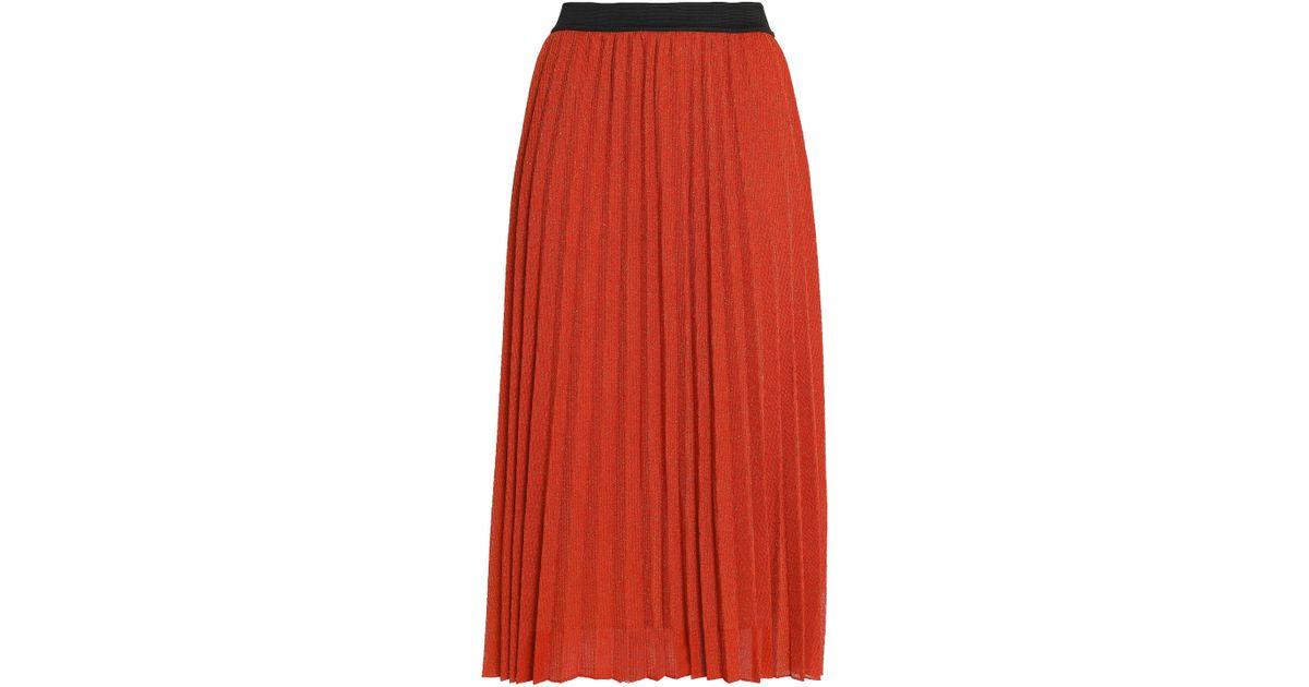 c6cd12d99a Maje Woman Pleated Metallic Ribbed-knit Midi Skirt Bright Orange in Orange  - Lyst