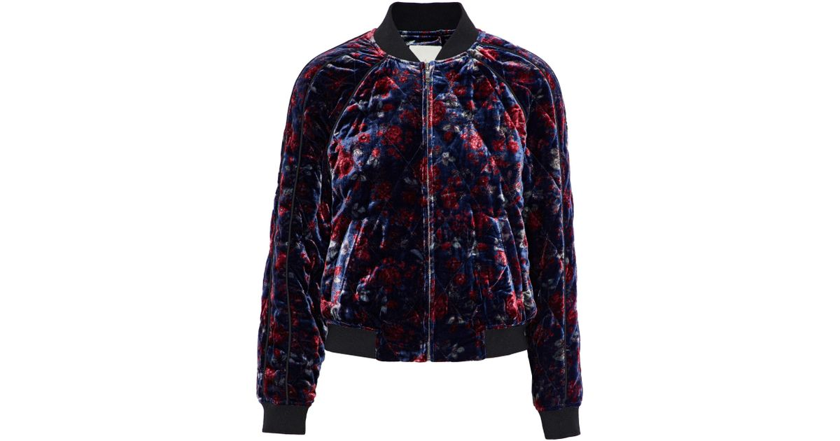 3e37b0dad71 Joie Mace Quilted Floral-print Velvet Bomber Jacket Indigo in Blue - Lyst