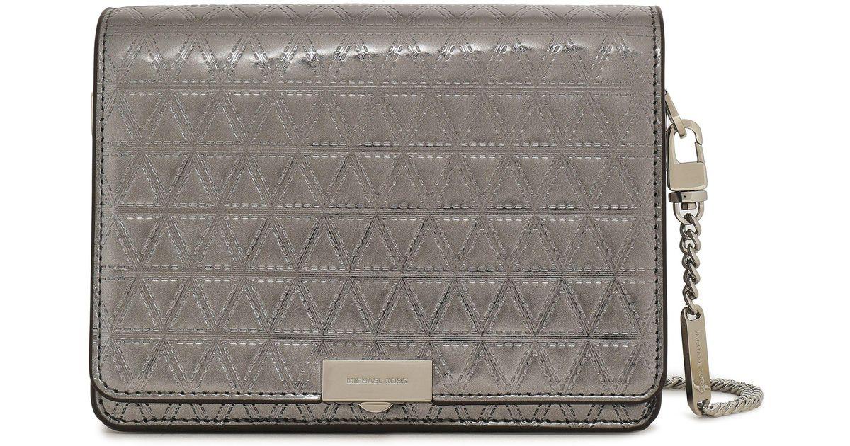 c82c033144ad04 Michael Kors Woman Laser-cut Metallic Patent-leather Shoulder Bag Gunmetal  in Metallic - Lyst