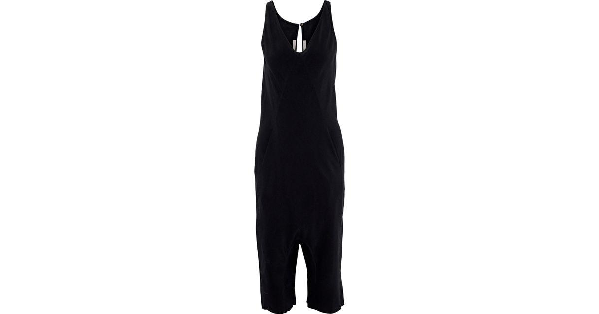 4104124a4713 Lyst - Rick Owens Tuta Cropped Crepe Jumpsuit in Black