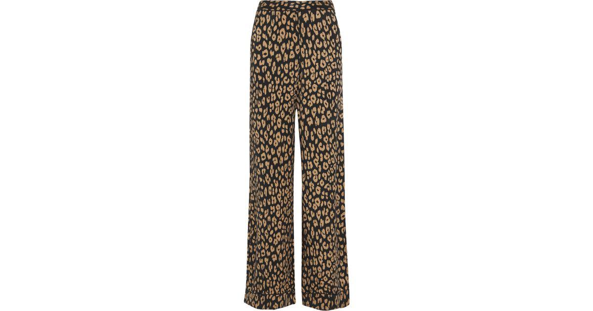 Lyst - Equipment + Kate Moss Avery Leopard-print Washed-silk Pajama Pants 78aaf8f11