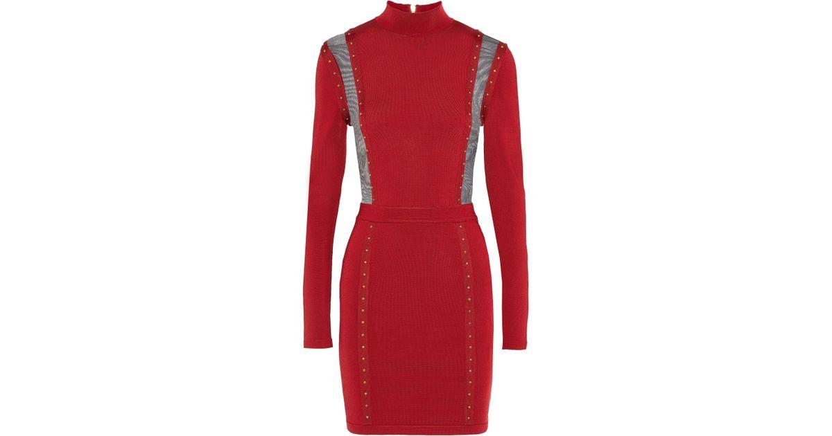 6ec81807 Balmain Woman Mesh-paneled Studded Stretch-knit Turtleneck Mini Dress  Crimson in Red - Lyst