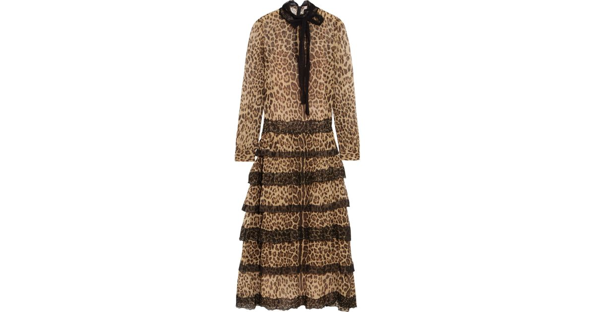 ff3092ccfdc5 RED Valentino Lace-trimmed Leopard-print Silk-crepon Midi Dress in Natural  - Lyst