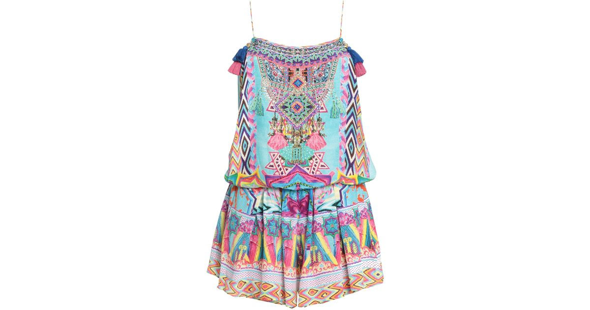 478bcc34ed6 Camilla Woman Masking Madness Embellished Printed Silk Playsuit Multicolor  in Blue - Lyst