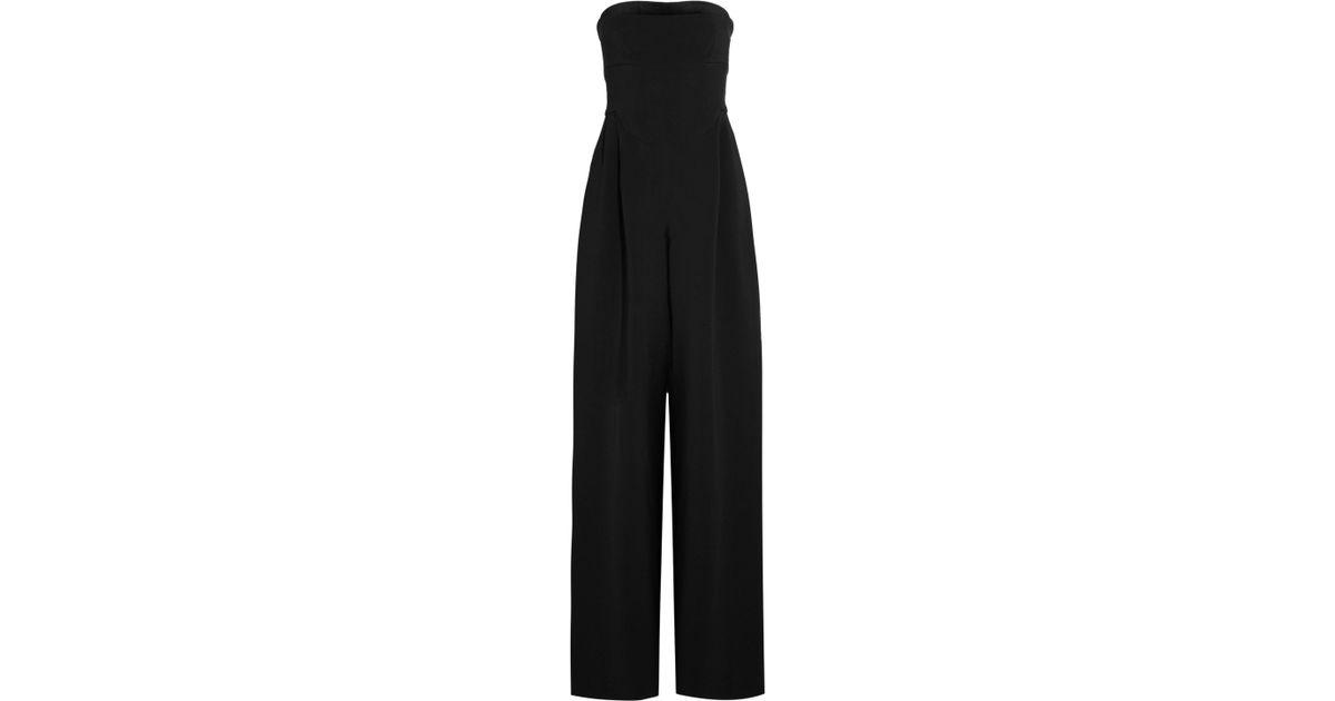 2372d4e45849 Lyst - Antonio Berardi Strapless Velvet-trimmed Stretch-cady Jumpsuit in  Black