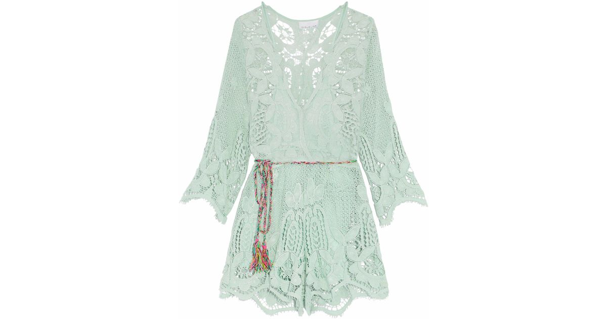 e49614e04343 Lyst - Miguelina Cotton Macramé Lace Playsuit in Green