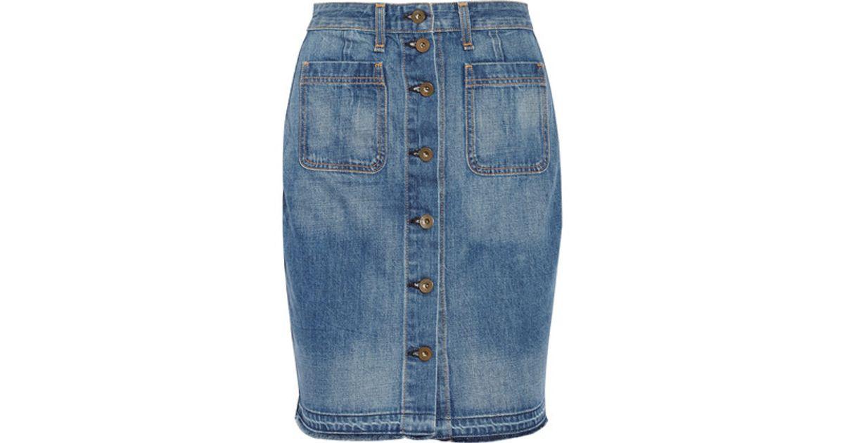 rag bone washed denim mini skirt mid denim in blue