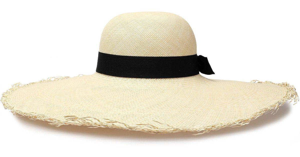 e97e8f0b20ffa Sensi Studio Woman Bow-embellished Toquilla Straw Sun Hat Beige in Natural  - Lyst