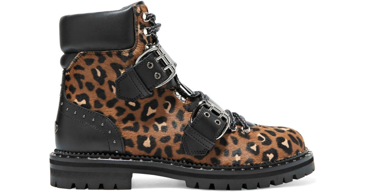 2d21d2f27001 Lyst - Jimmy Choo Woman Breeze Leather-trimmed Leopard-print Calf Hair  Ankle Boots Animal Print