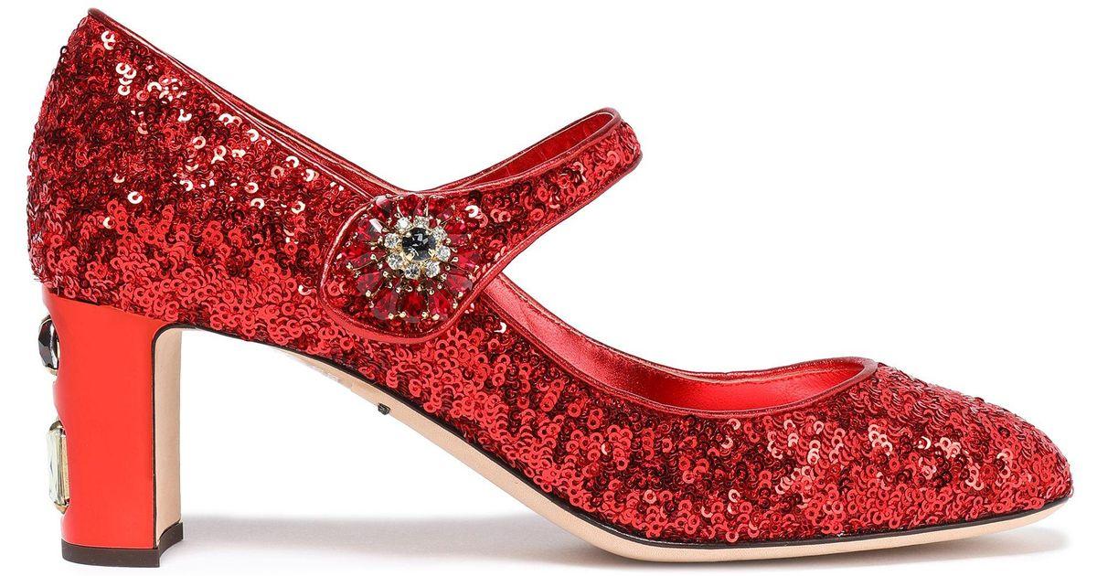 045d5c93458 Dolce & Gabbana - Woman Mid Heel Pumps Red - Lyst