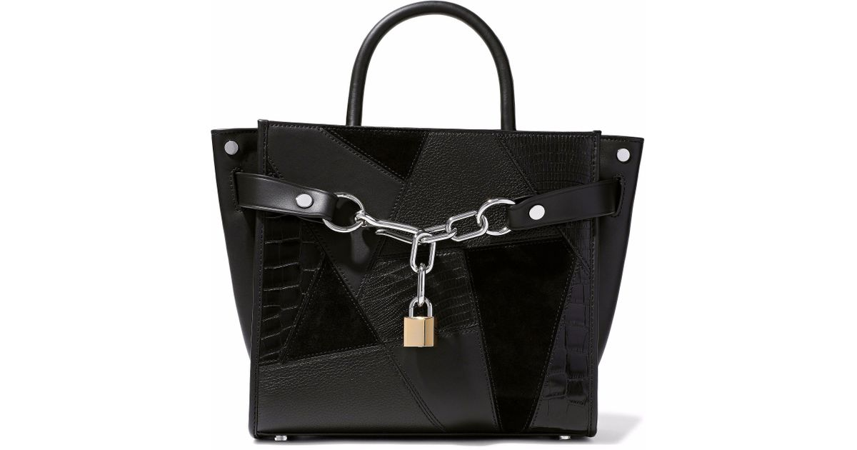 Alexander Wang Woman Chain-embellished Textured-leather And Suede Tote Black Size Alexander Wang dgXCN1d