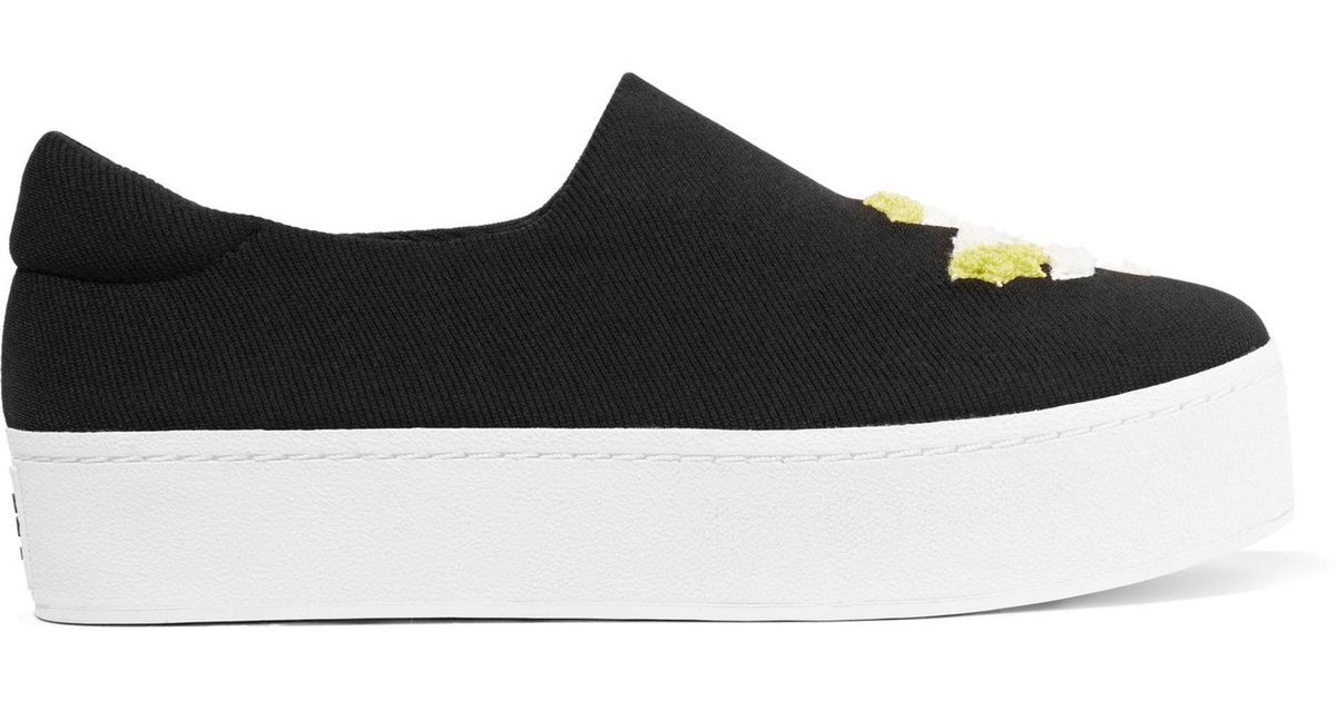 31b2796d81e3 Lyst - Opening Ceremony Cici Embroidered Twill Platform Slip-on Sneakers in  Black