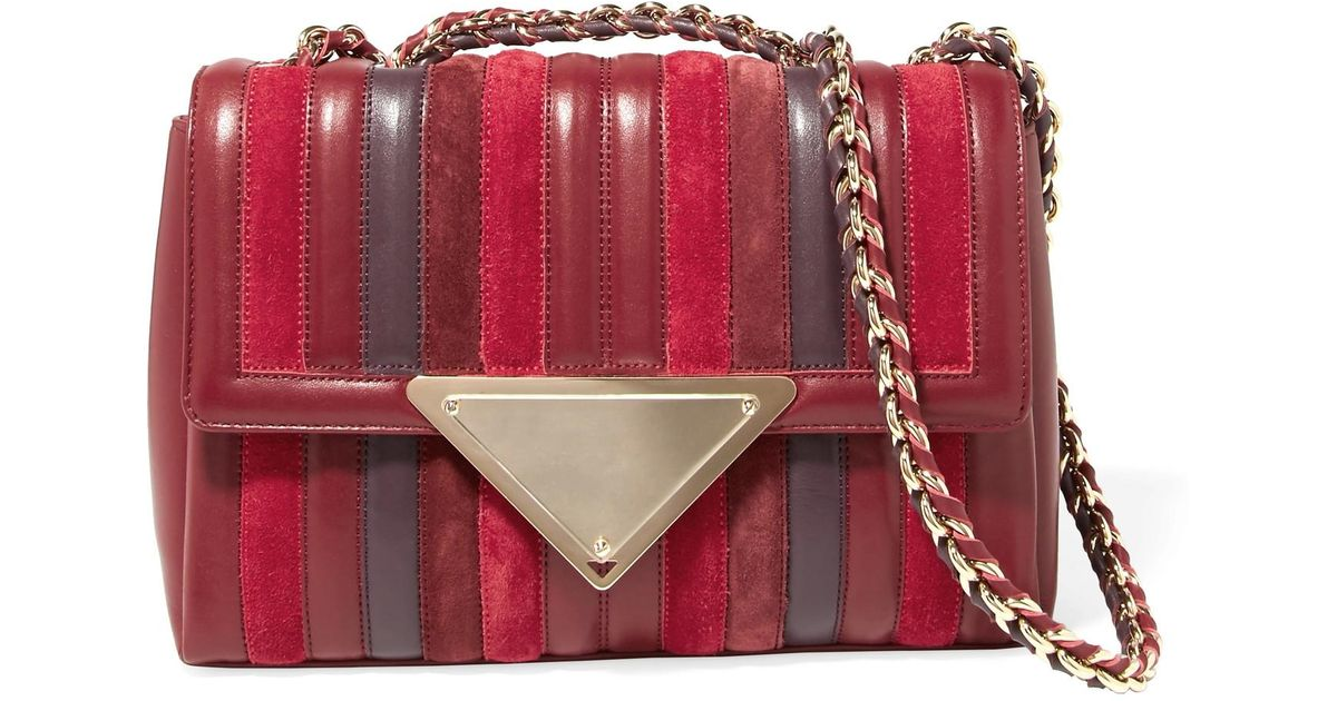 Sara Battaglia Elizabeth Paneled Leather And Suede Shoulder Bag in Red -  Lyst f0518d75ec7d0